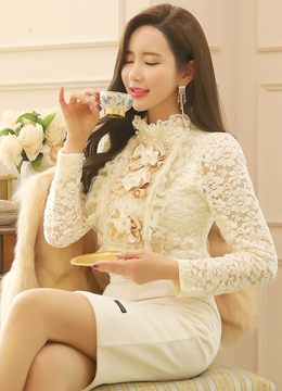 Feminine Floral Lace Frill Neck Blouse, Styleonme