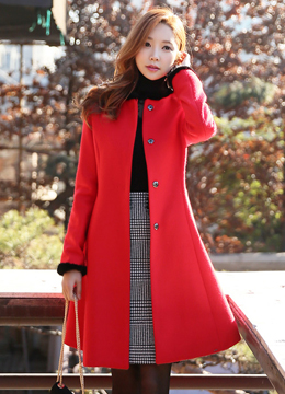 Mink Fur Trim Belted Wool Blend Collarless Coat, Styleonme