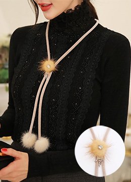 Cubic Mink Fur Necklace, Styleonme