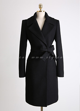 Wool Blend Waist Tie Long Tailored Coat, Styleonme