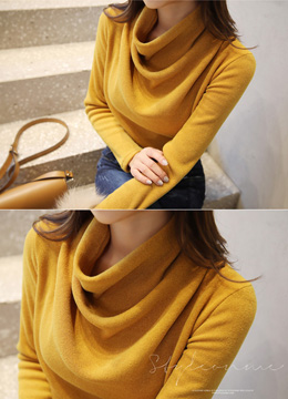 Cowl Neck Fleece-lined T-shirt, Styleonme