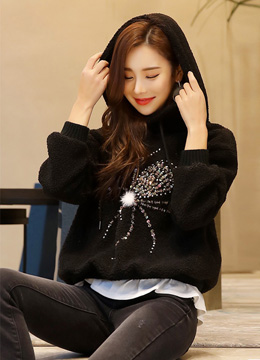 Spider Sequined Hoodie, Styleonme