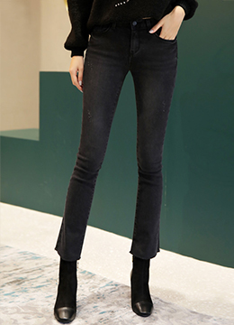 Charcoal Fleece-lined Boot-Cut Jeans, Styleonme