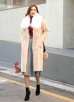 Soft Faux Fur Double-Breasted Long Coat, Styleonme