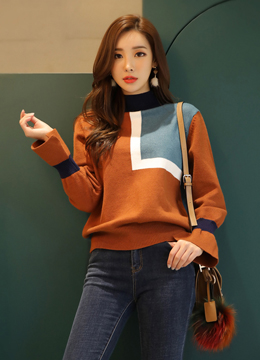 Color Block Slit Bell Sleeve Knit Top, Styleonme