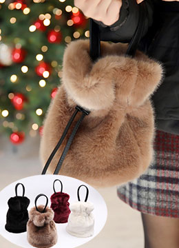 Soft Faux Fur Mini Tote Bag, Styleonme