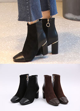 Gold Zipper Suede High Heel Ankle Boots, Styleonme