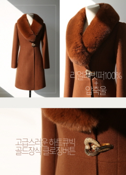 Gold Heart Buckle Rabbit Fur Collar Wool Blend Coat, Styleonme