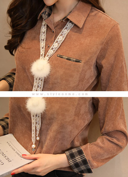 Mink Fur Tie Set Check Print Detail Collared Shirt, Styleonme