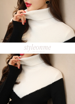 Two Color V-Line Turtleneck Ribbed Knit Top, Styleonme