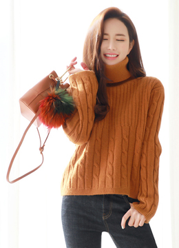 Soft Turtleneck Cable Knit Sweater, Styleonme