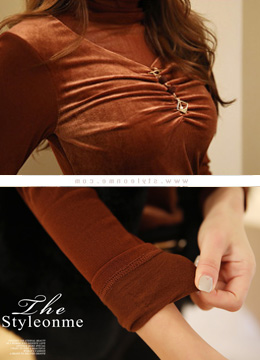 See-through High Neck Velvet Blouse Tee, Styleonme
