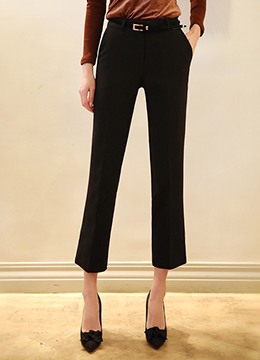 Side Slit Cropped Slim Fit Slacks, Styleonme