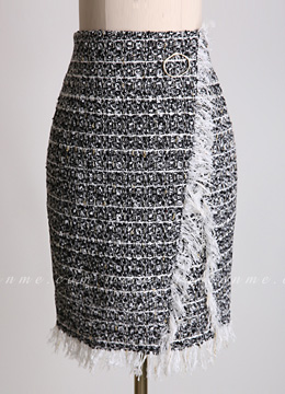 Metallic Tweed Pencil Skirt, Styleonme