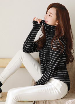 Stripe Turtleneck Long Sleeve Knit Tee, Styleonme