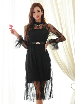 See-through Full Lace Long Dress, Styleonme