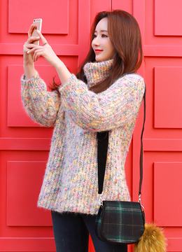 Pastel Color Mix Knit Sweater, Styleonme