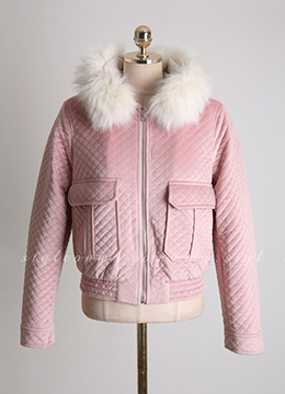 Fox Fur Trim Quilted Short Jacket, Styleonme