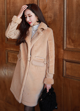 Faux Fur Long Mustang Coat, Styleonme