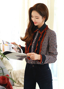 Unique Patterned Frill Detail Collared Blouse, Styleonme