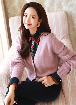 Pearl Button Frill Sleeve Angora Cardigan, Styleonme