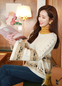 Lace-Up Flared Sleeve Knit Sweater, Styleonme