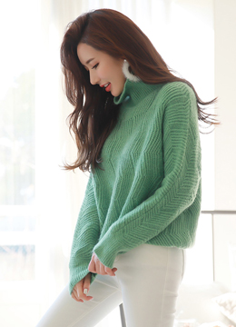 Pastel Color Turtleneck Knit Sweater, Styleonme
