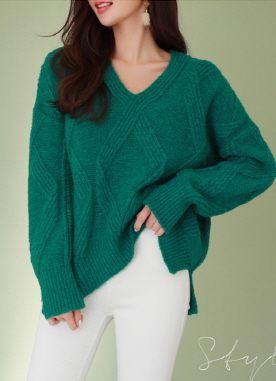 V-Neck Diamond Stitch Knit Sweater, Styleonme