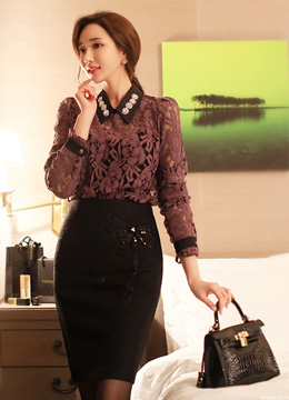 Jeweled Collar Brushed Floral Lace Blouse, Styleonme