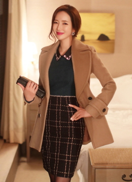 Wide Collar Double-Breasted Half Coat, Styleonme