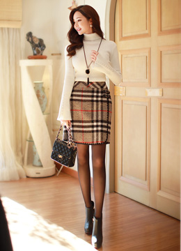Check Print Double Strap Wool Blend Skirt, Styleonme