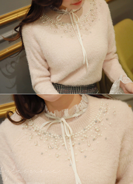 Pearl Decorated Round Neck Knit Sweater, Styleonme