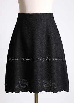 Scallop Trim Floral Lace A-Line Skirt, Styleonme
