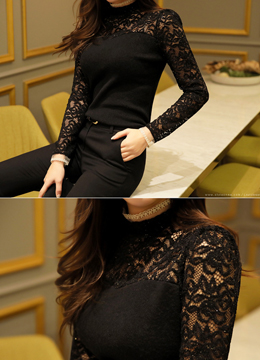 Sparkly Floral Lace Blouse, Styleonme