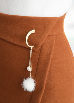Mink Fur Decorative Detail Pencil Skirt, Styleonme