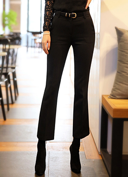 Fleece-lined Boot-Cut Slacks, Styleonme