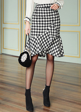 Houndstooth Print Mermaid Hem Skirt, Styleonme