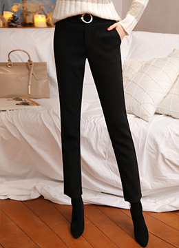 Slim Fit Front Buckle Elastic Waist Band Slacks, Styleonme