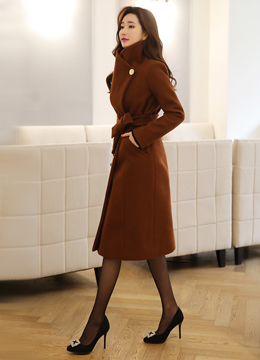 Side Gold Button Stand Collar Belted Long Coat, Styleonme