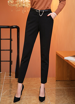 Slim Fit Back Elastic Waistband Fleece-lined Slacks, Styleonme