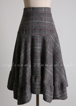 Glen Check Print Asymmetrical Long Skirt, Styleonme
