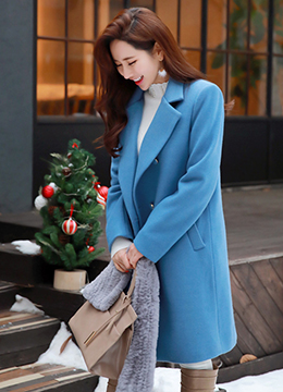 Straight Fit Double-Breasted Wool Blend Tailored Coat, Styleonme