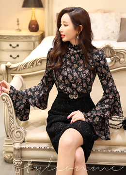 Floral Print Double Bell Sleeve Dress, Styleonme