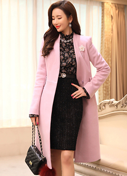 Feminine Pink Wool Blend Belted Long Coat, Styleonme