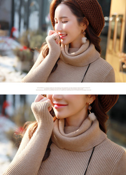 Double Turtleneck Ribbed Knit Tee, Styleonme