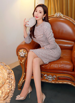 [Weekly Best]Luxury Gold Button Tweed Dress, Styleonme