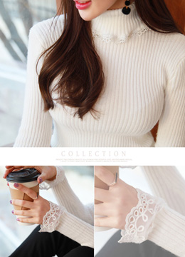 [Weekly Best]Lace Trim Turtleneck Ribbed Knit Tee, Styleonme