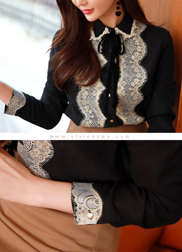 Gold Lace Button-Up Collared Blouse, Styleonme