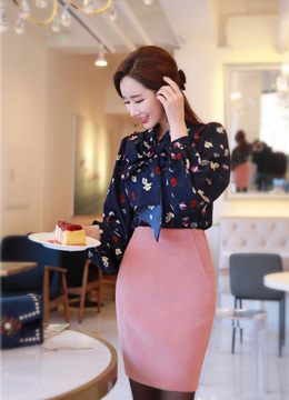 Floral Print Balloon Sleeve Ribbon Blouse, Styleonme