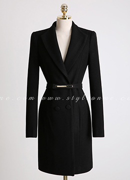 Gold Belt Set Double-Breasted Wool Blend Coat, Styleonme